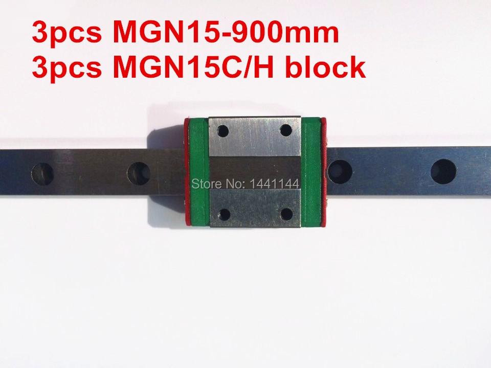Kossel Pro Miniature  15mm linear slide :3pcs MGN15 - 900mm rail+3pcs MGN15C carriage for X Y Z axies 3d printer parts mgn12 12mm miniature linear rail slide mgn12h carriage for 3d printer
