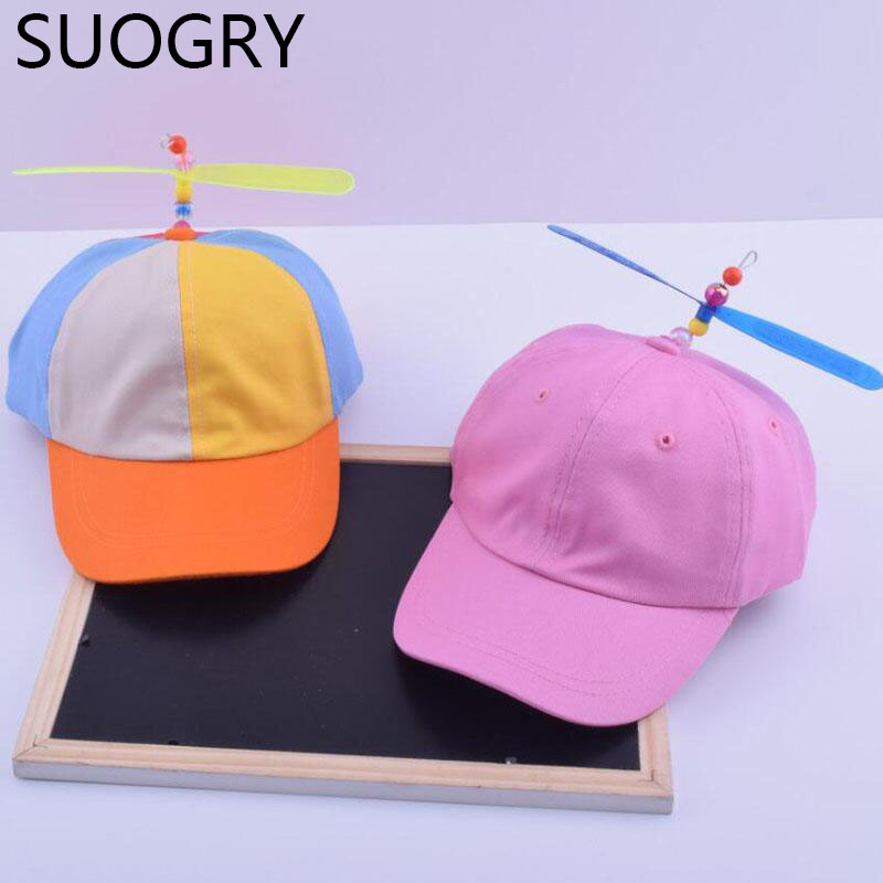 Adult And Child Propeller Hat Colorful Patchwork Funny Baseball Hats Propeller Bamboo Dragonfly Sun Hat Casquette Snapback