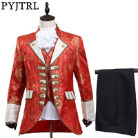 PYJTRL Men Five piece Set Europe Style Court Marshal Clothing Groom Wedding Red Mens Suits Party Stage Singer Costume