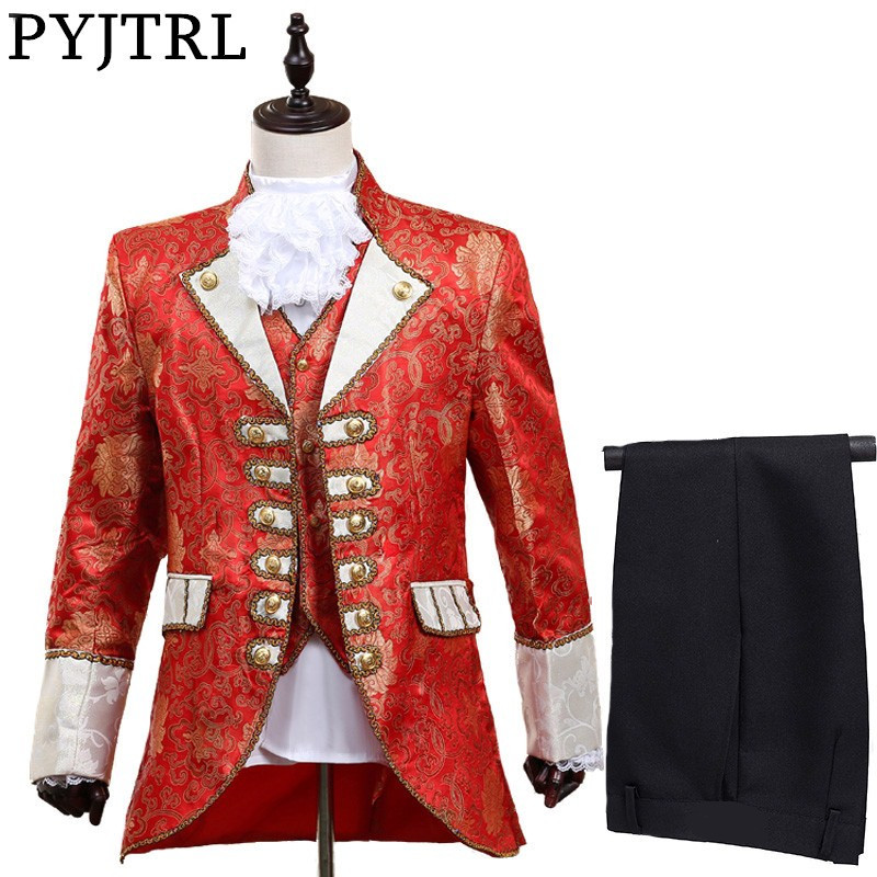 PYJTRL hommes cinq pièces ensemble Europe Style Court maréchal vêtements marié mariage rouge hommes costumes partie scène chanteur Costume