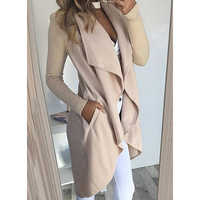 Autumn Solid Slim Cardigan Outerwear Women Trench Open Stitch Solid Color Long Sleeve V Neck Casual Big Lapel Trenchcoat