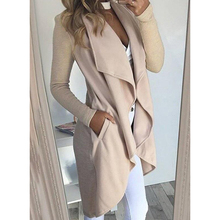 Autumn Solid Slim Cardigan Outerwear Women Trench Open Stitch Solid Color Long S