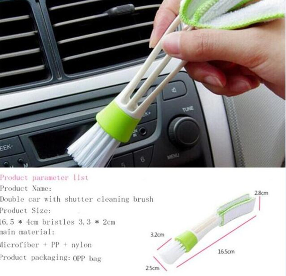 1PCS Multi-functional 6.5 Inch Double Ended Auto Car Cleaning Brush Ventilation Cleaner Blinds Duster Car Care Brushes Detailing