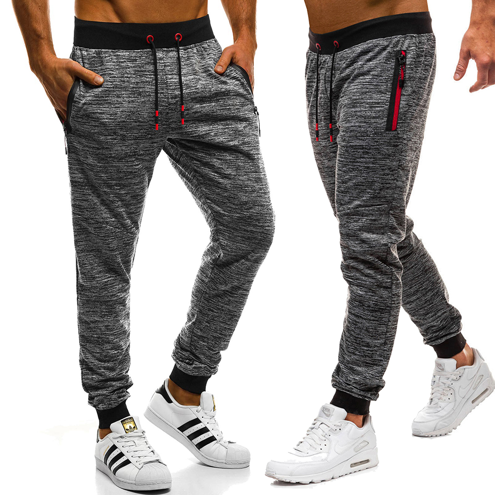 2019 Men's Fashion New Large Size Belted Trousers Men's Zipper Pocket Track Pants