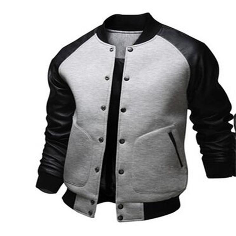 9cebf13d0e9 New Stylish Varsity Jacket Men Cotton Pu Leather Stitching Baseball Jackets  Autumn Winter Fashion Single Button Mens Slim Coats-in Jackets from Men s  ...