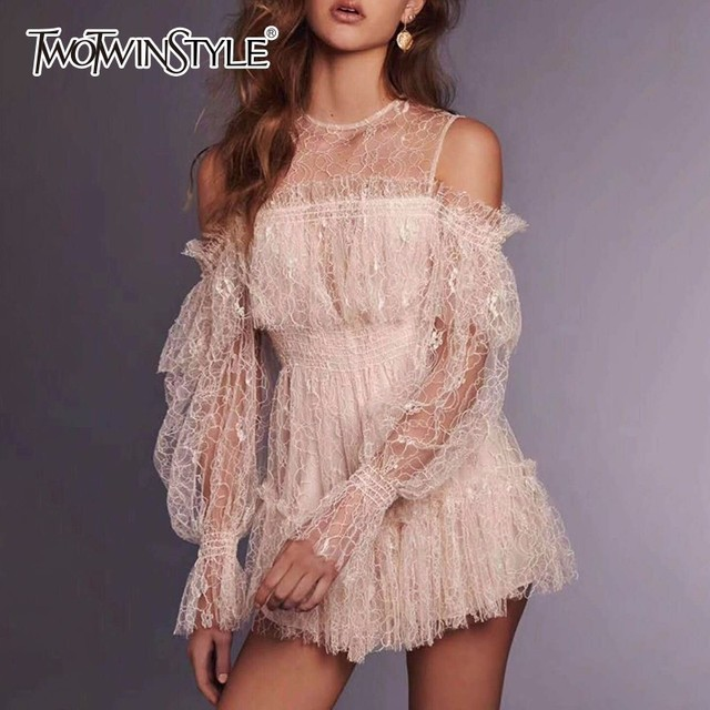 a40c7d19846 TWOTWINSTYLE Lace Patchwork Playsuits Womens Off Shoulder Lantern Sleeve  High Waist Mini Trousers Summer Fashion Sweet Clothing