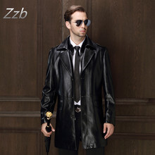 New Men's Medium Long  Leather Coat Classic Black Suit Collar Men's Clothing Male Autumn and Winter Sheepskin Trench coat
