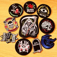 DIY Rock Band Patch Embroidered Patches For Clothing Iron On Clothes Punk Hippie Biker Badges Black Applique