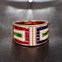 Huitan Luxury Women Ring Band Multicolored Cubic Zircon Boho Women Ring Charming Rainbow Jewelry Ring For Cool Girl Wholesale charming rhinestone heart ring for women