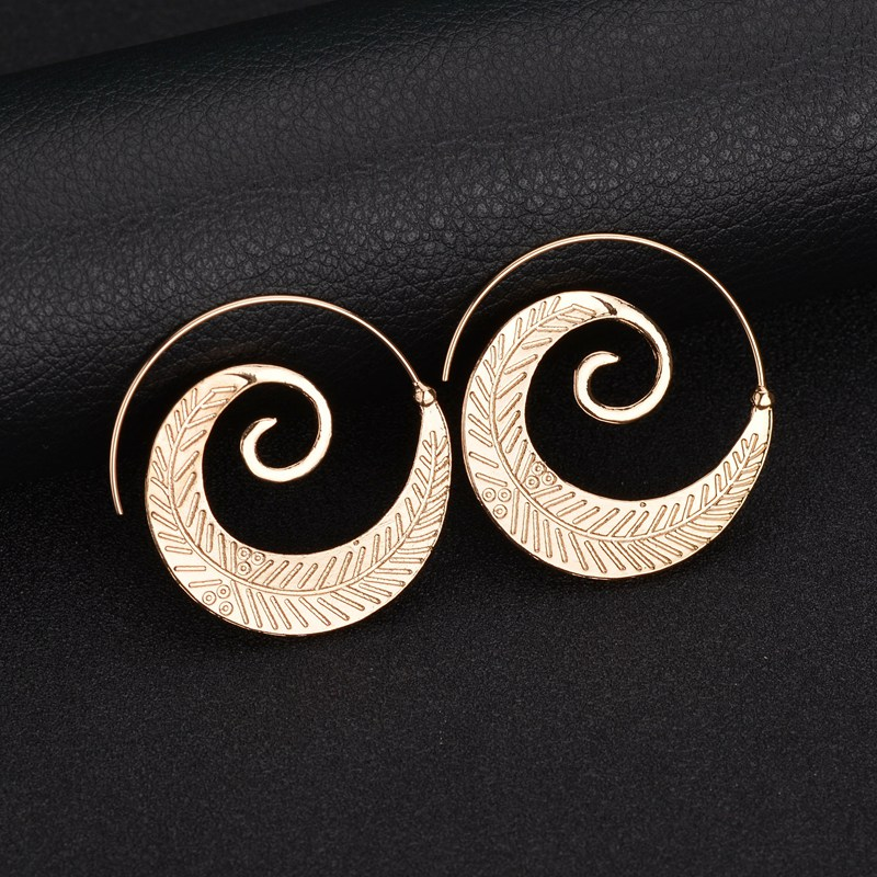 MissCyCy Ethnic Style Gold Color Alloy Leaves Hoop Earrings For Women Punk Circle Earrings Jewelry Gift Drop Shopping