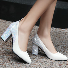 Sexy Womens Slip-on Pointed Toe Prom White Wedding Shallow Pumps Shoes High Heels Evening Party Plus Size 33 - 46
