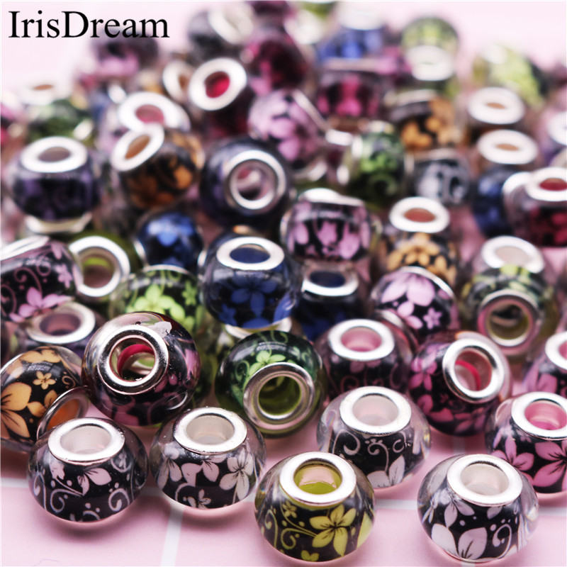 50PCS Lot Big Hole Rould Loose Footmark Footprint Glass Murano Resin Beads Fit Pandora Charms Bracelet DIY Jewelry