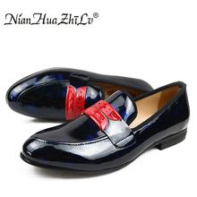 2017 New arrival Men Glossy shoes NIAN HUA ZHI LV  brand Handmade Comfortable Mens Casual Shoes