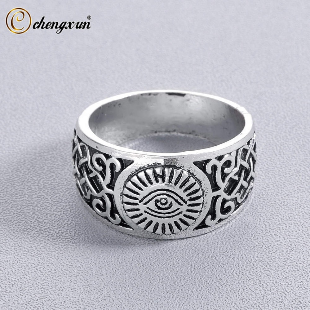 CHENGXUN All Seeing Eye Signet Ring for Men Golden Engraving Unique Personalized Antique style Ring Best Gift