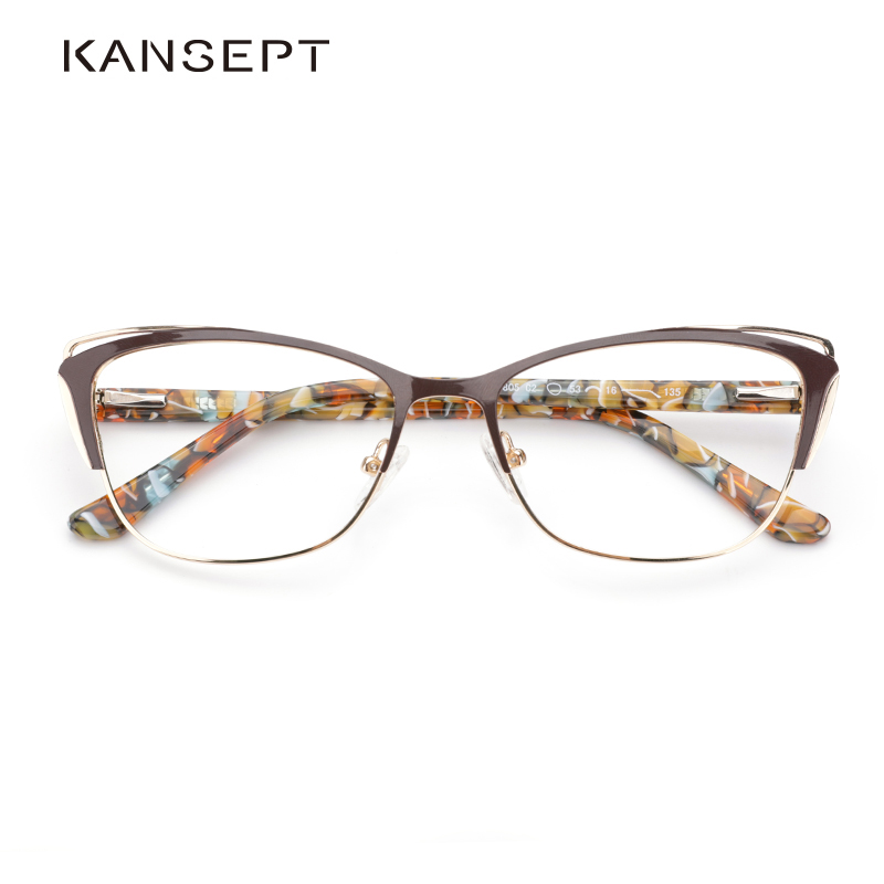 Metal Women Fashion Cat Eye Eyeglasses Frame Optical Glasses Frames Retro Eyeglasses Transparent Computer Glasses For Women image