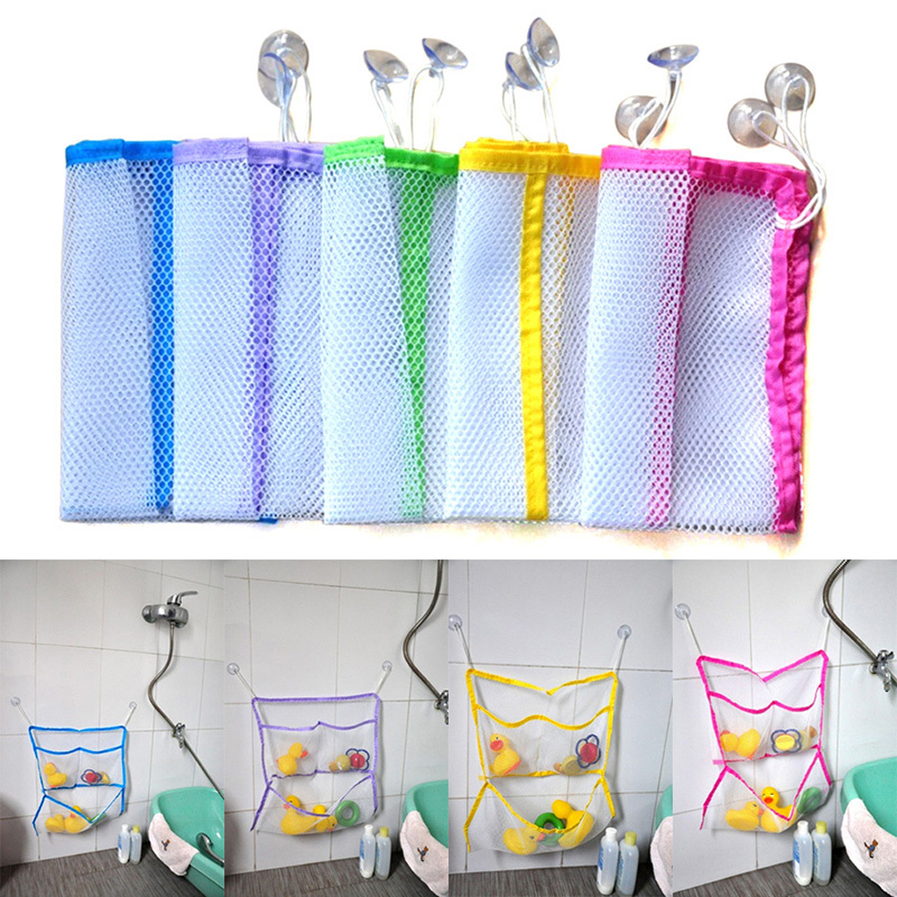 Portable Folding Baby Bathroom Hanging Suction Net Bath Toy Storage ...