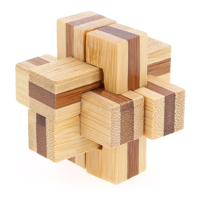 Unique Design 3D Interlocking Wooden Puzzle 6 Pieces Cross Burr Kong Ming IQ