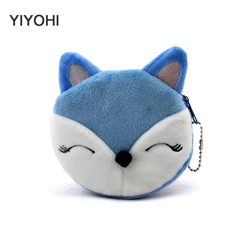 YIYOHI New Cartoon Colorful Fox Children Coin Purse Girls Coin Bag Lady Cute Mini Wallet Pouch Women Girl Makeup Buggy Bag cute girl hasp small wallets women coin purses female coin bag lady cotton cloth pouch kids money mini bag children change purse