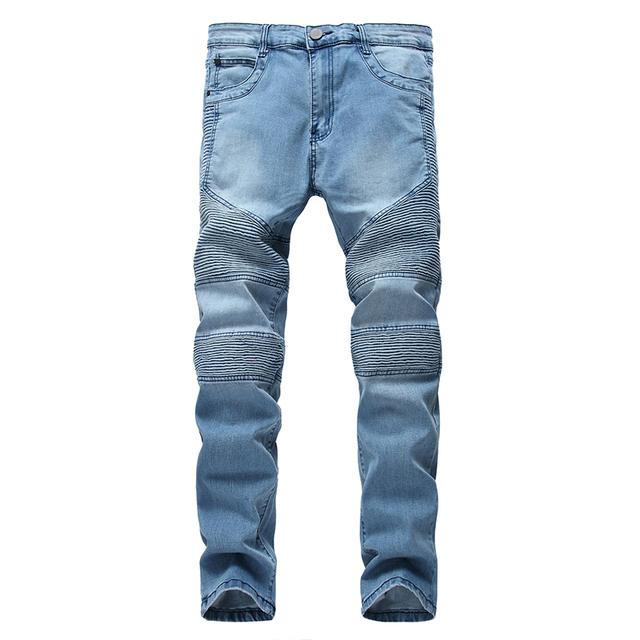 Gersri Mens Skinny Jean Cotton Distressed Slim Elastic Jeans Denim Biker Jeans Hip hop Pants Washed Ripped Jeans Big plus size