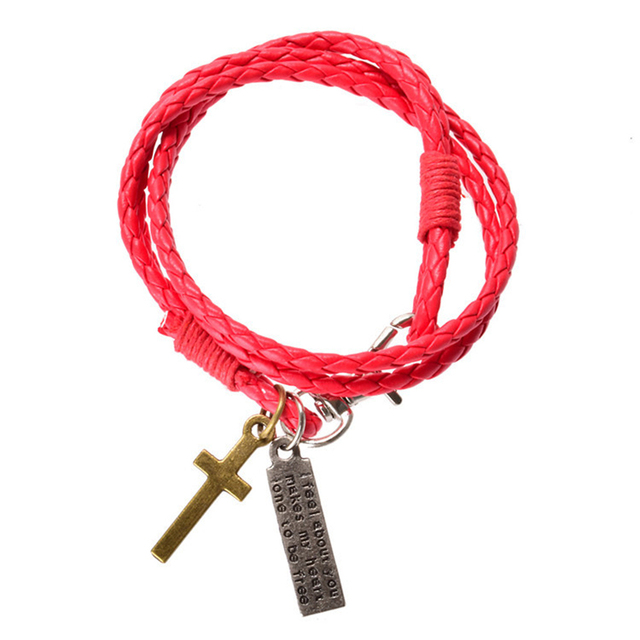 2017 Hot Sale Fashion Men Jewelry Vintage Leather Bracelet Mens Cross Bracelets Best Friendship Bangles Pulseras MB1759