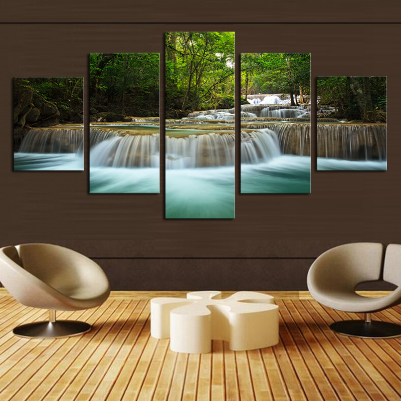 Unframed 5 Panel Modern Decorative Waterfall Home Decor Picture Paints on Canvas Wall Art for Home Decorations Wall Decor