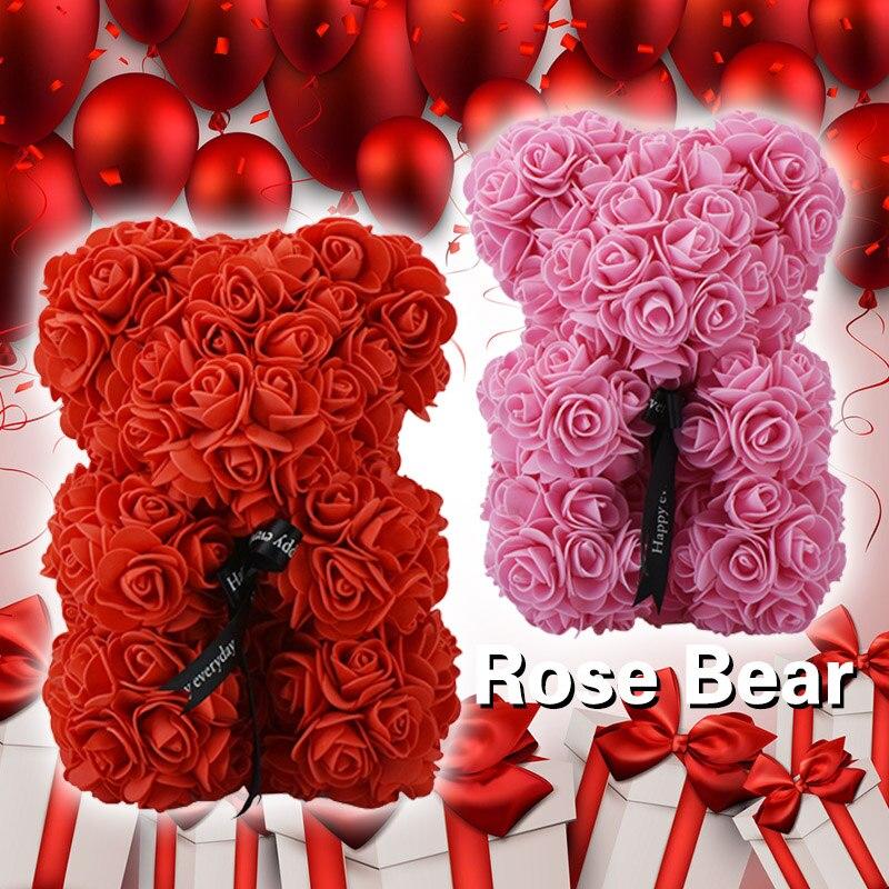23 cm tedd bear de rosas vermelhas e cor de rosa urso tedy urso de brinquedo com arco rosas artificiais para o dia Dos Namorados Natal dropshiping presente 2018