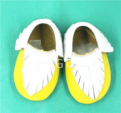 2016 nuevo diseño de la Hoja Del Bebé Mocasines de Cuero Genuino de la Vaca zapatos de moda suela blanda Bebé Recién Nacido primer caminante antideslizante zapatos