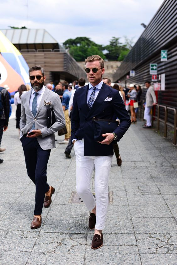 Navy Blue Double Breasted Smart Casual Business Male Blazer Jacket Custom Made Slim Fit Street Wear Prom Party Suits White Pants