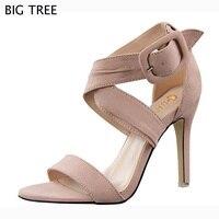 BIGTREE Mody Kobiet Sandałów Lata Stada damskie Sandały Pas Koronki Otwarte Toe na Wysokim obcasie Kobiety Buty Kobiece 48 TXJ