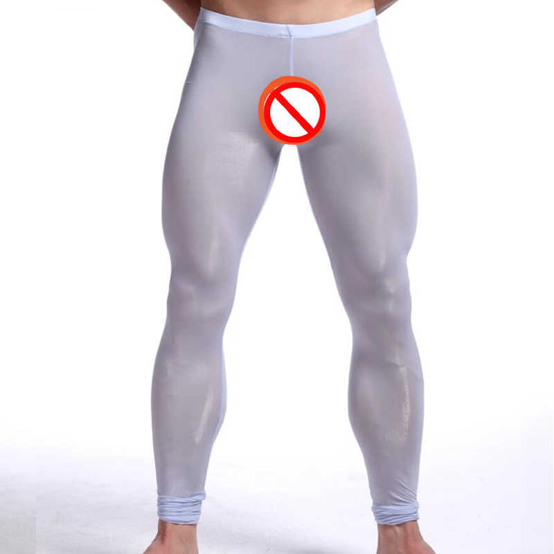 f7502fa203 2018 New Man Sexy Nylon Transparent Long Johns/Lce Silk Pouch Sheer  Leggings Bottoms/