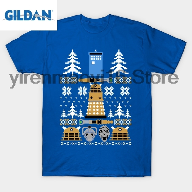 GILDAN 100% cotton O-neck printed T-shirt Doctor Who Ugly Sweater T-Shirt