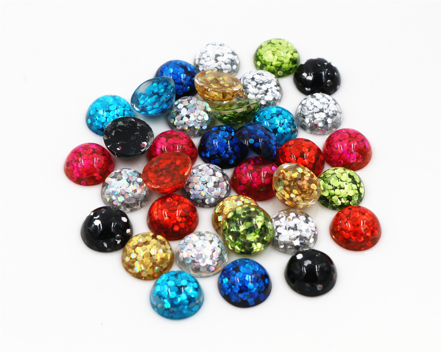 40pcs/Lot  8mm Mix Colors Bright Wafer Flat Back Resin Cabochons Cameo Fit 8 Mm Cabochons Tray Earrings And Rings Accessories
