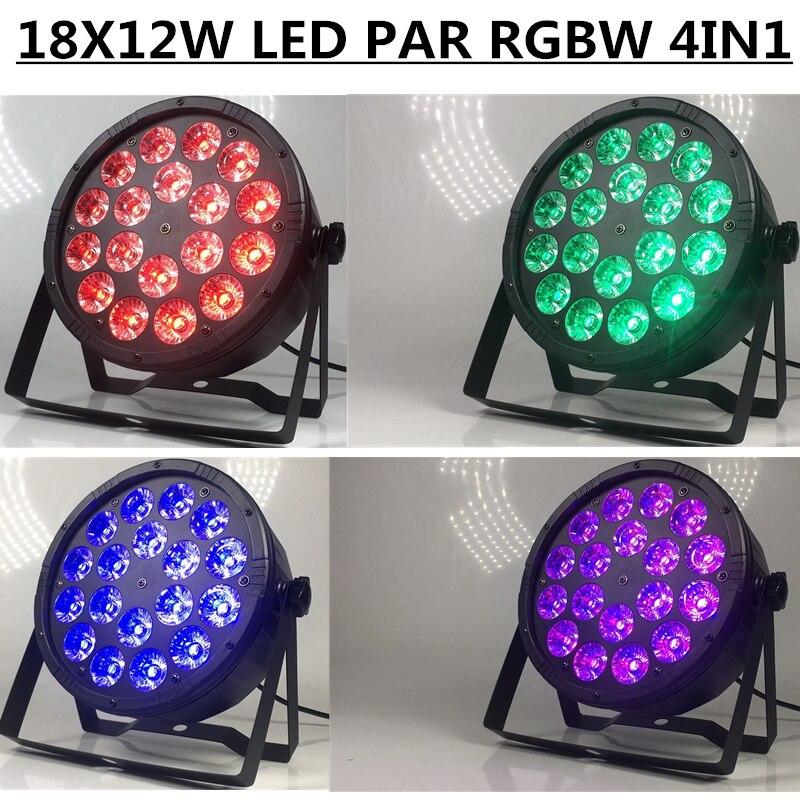 4pcs 18X12W led Par light RGBW 4in1 par flat LED PAR dmx512 disco lights professional stage