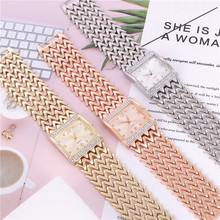 Metal Watch Women Elegantly Wedding Party Accessories Diamond Rose Gold Mesh Belt Watchband Bracelet Clasp