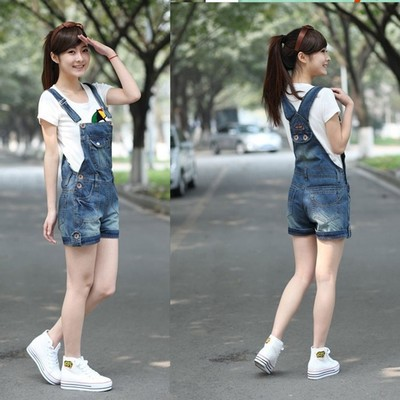2016 New summer women students loose denim overalls big yards casual shorts pants suspenders  Jumpsuits & Rompers women A0192