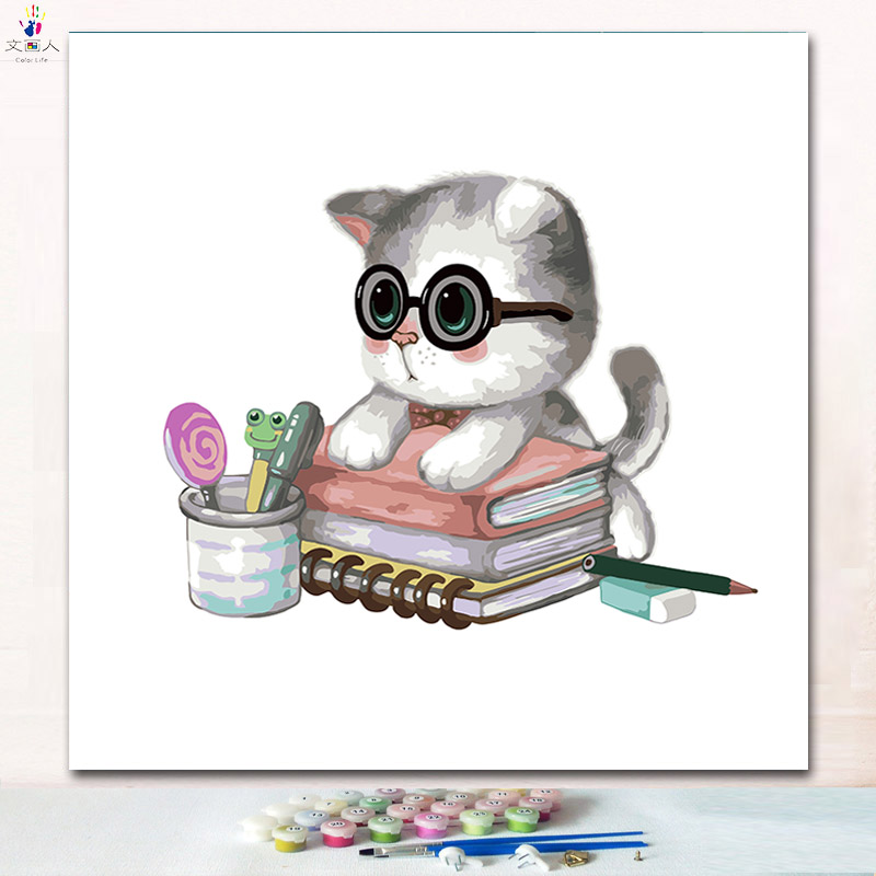cut animal doctor Cat digital oil painting coloring numbers pictures by numbers on canvas with paint colors for kids prac