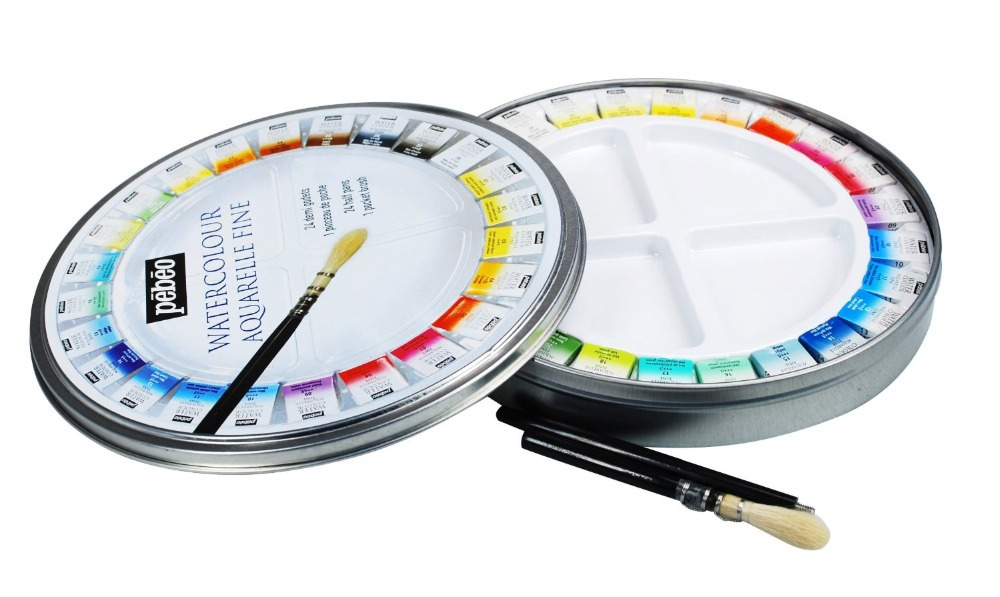 Pebeo Fine Watercolors Round Metal Box of 24 Half Pans  Pocket Set with Brush