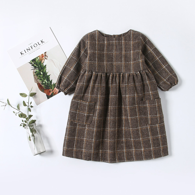 New Arrival 2017 Baby Girls Vintage Plaid Dress Long Style