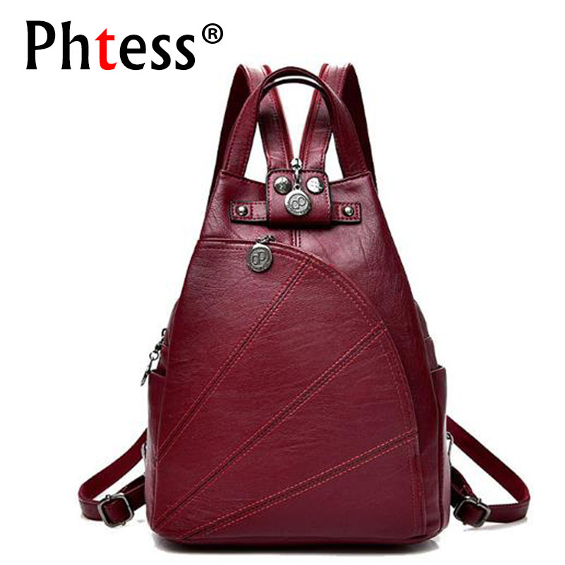 2019 Women Anti-theft Leather Backpacks Female  Ladies Backpacks For School Retro Sac a Dos Femme Female School Shoulder Bags(China)