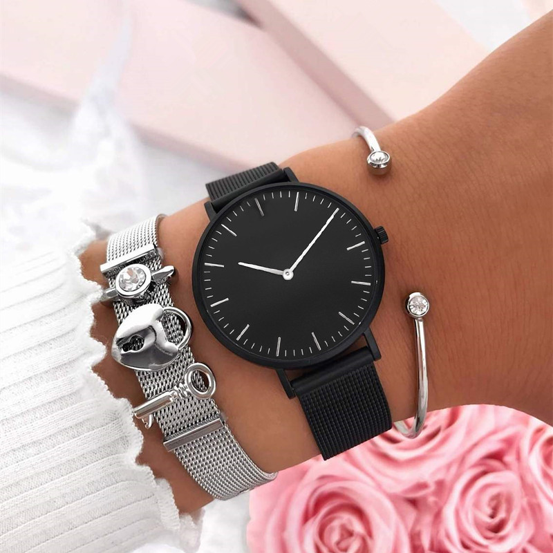 Vinnie Design Jewelry 2019 New Stainless Steel Keeper Bracelet Set With High Quality Black Mesh Wristwatch