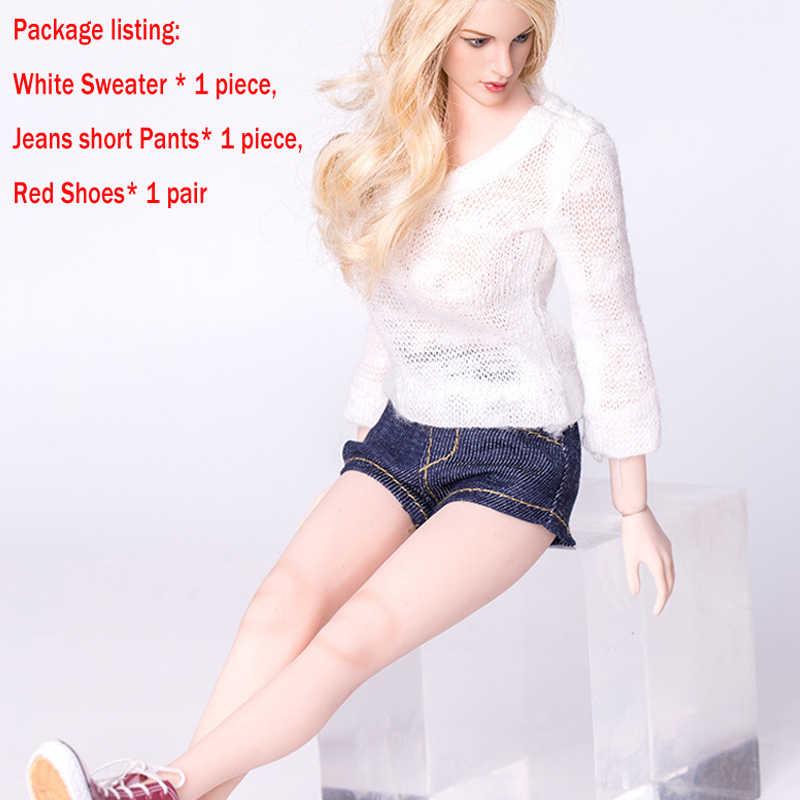 1/6 г., стильные аксессуары для одежды, 12 дюймов, джинсы, белый свитер, обувь, комплект для женщин, Phicen HT, рисунок тела