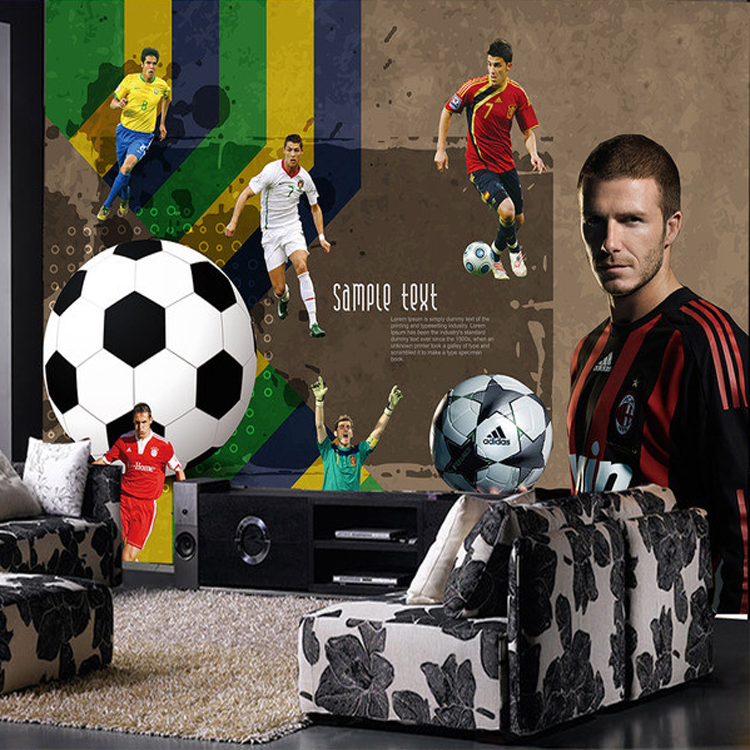 Custom Size Photo 3D football basketball wallpaper Restaurant Bar KTV Cafe living room bedroom background sports wallpaper mural custom any size mural wallpaper 3d stereoscopic universe star living room tv bar ktv backdrop bedroom 3d photo wallpaper roll
