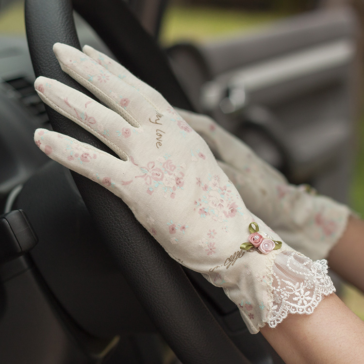 Spring and summer women's vintage rose lace cotton gloves lady's anti-uv slip-resistant short design thin driving gloves R389