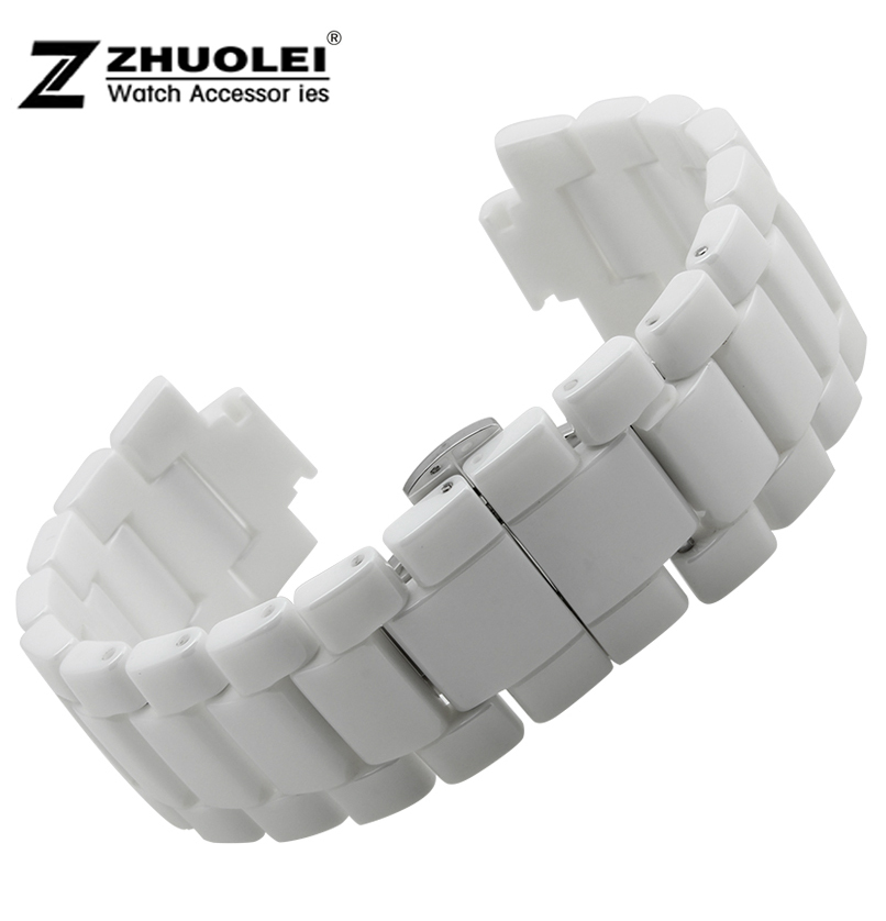 20mm 22mm Watch band White Ceramic Watchband Bracelet Strap For AR1424 AR1421 AR1425 AR1426 20mm 22mm ceramic