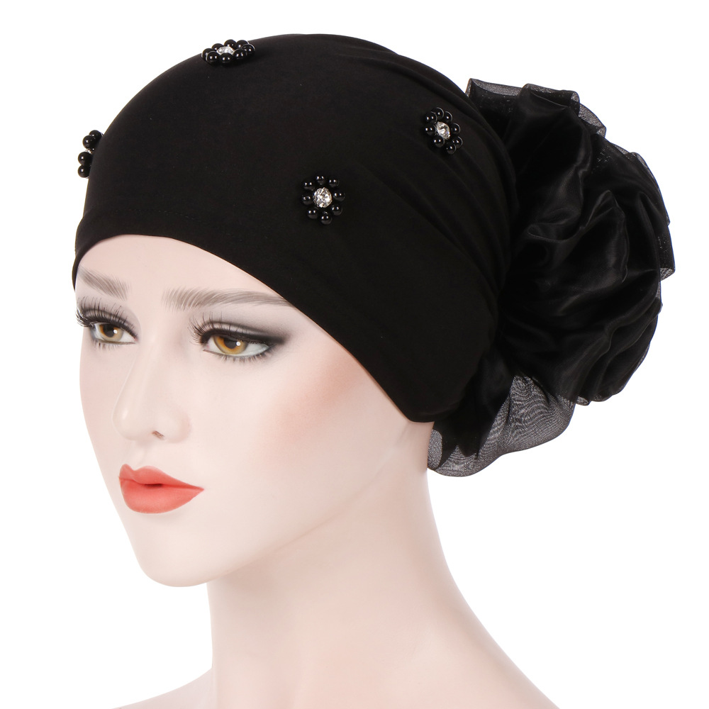Women Head Scarf Muslim Flower Hijab Hair Loss Elegant Turban Cap Wrap Ruffle Cancer Chemo Hat Beanie Scarf Casual Wholesale