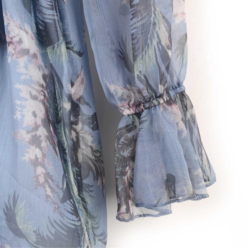 Ruique женский цветочный в богемном стиле с принтом пляжные комбинезоны высокого качества женские глубокий v-образный вырез сексуальные комбинезоны с длинными рукавами