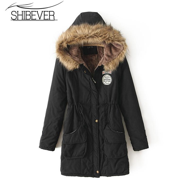 SHIBEVER High Quality Women winter   Jacket   Coat Fashion warm fur   basic     jacket   Female hooded Outwear autumn Coat Women 2018 JGT142