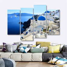 Canvas Print Wall Art Painting Home Decor Greece Churches White & Blue Aegean Sea 4PCS Artwork Picture For Room Shipping