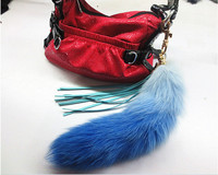 genuine fox fur tail fashion long colorful gradient belt tassel Phone chain blue red green Women bags keychain A85