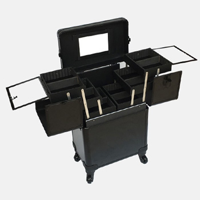Trolley Organizer Schwarzes platte Fall Mit Kosmetische schwarz Salon up Rosa Box Make Aluminium Walz Rahmen rosa Pvc tCqxWAWwg7